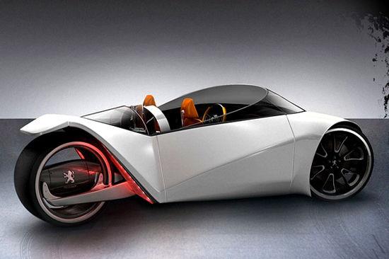hybrid concept car - peugeot velocite - unfinished man