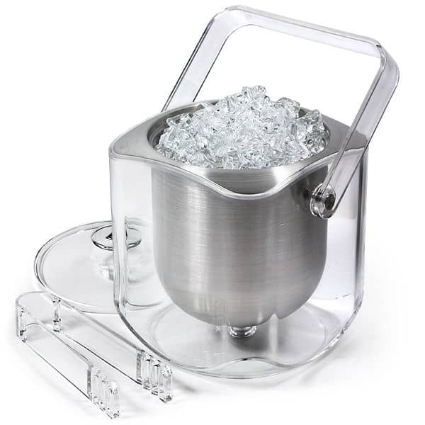 acrylic and stainless steel double walled ice bucket