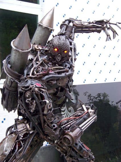 giant robot built out of iron scraps