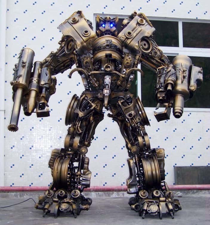 giant robot built out of scrap iron