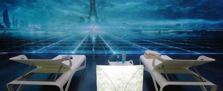 Dupont Corian Lounge chairs and Tyvek lamp look over Disney's Tron Outlands
