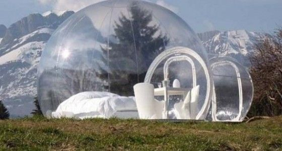 Luxury camping in a crystal bubble portable home tent