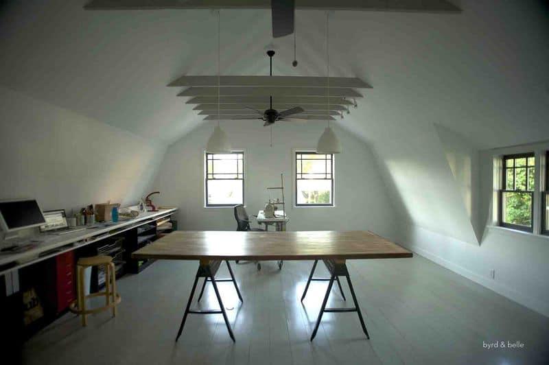 Byrd & Belle's clean white loft workshop