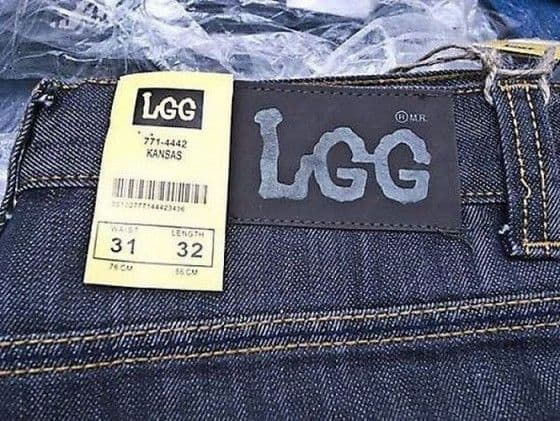 Chinese knock-off Lee jeans