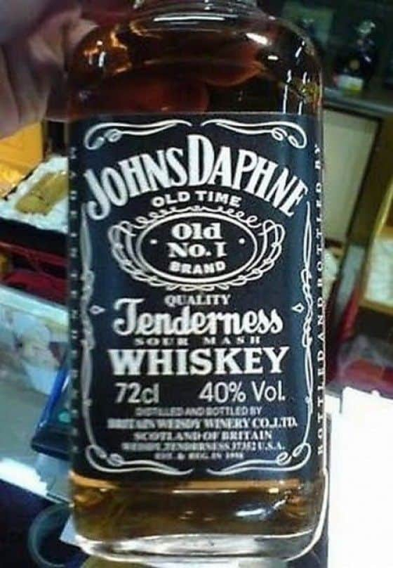 Johns Daphne copy cat whiskey of Jack Daniels