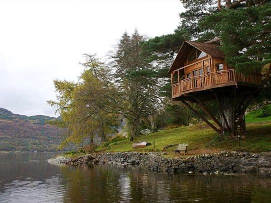 Treehouse overlooking water