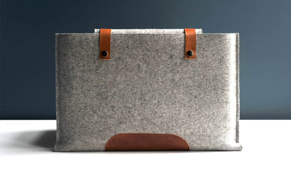 wool and leather mac book pro case by Byrd & Belle