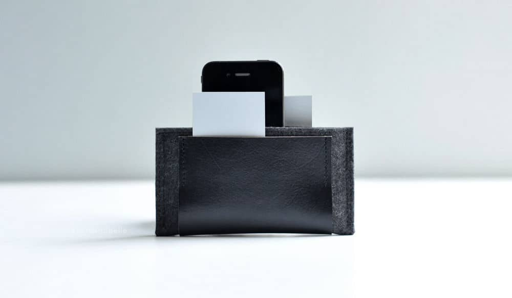 wool and leather iphone wallet by Byrd & Belle