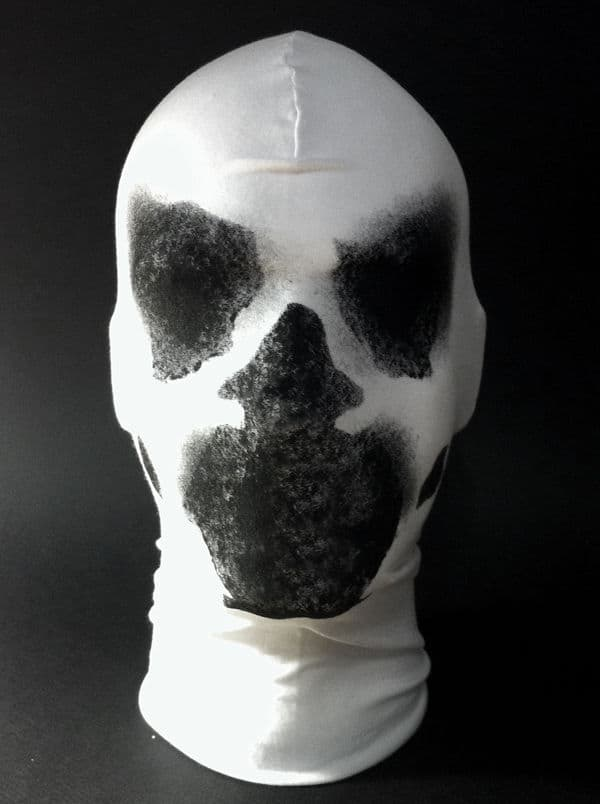 real Rorschach mask with moving inkblots