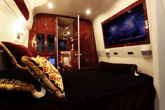 Luxurious Lexani tuned Mercedes Sprinter Van bedroom