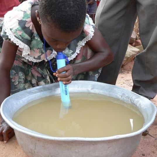LifeStraw portable water filter used in Africa