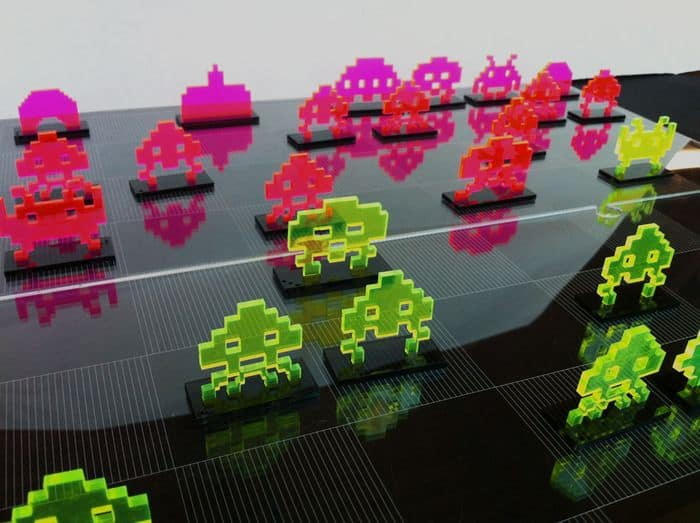 space invaders chess set laser cut acrylic