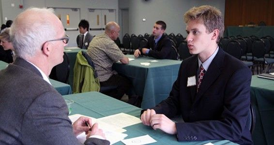 young man at job interview