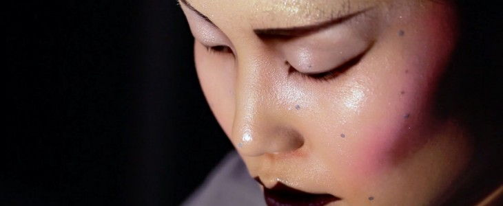 real time projection mapping on womans face