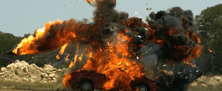 car gets blown up