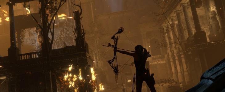 lara croft aiming bow