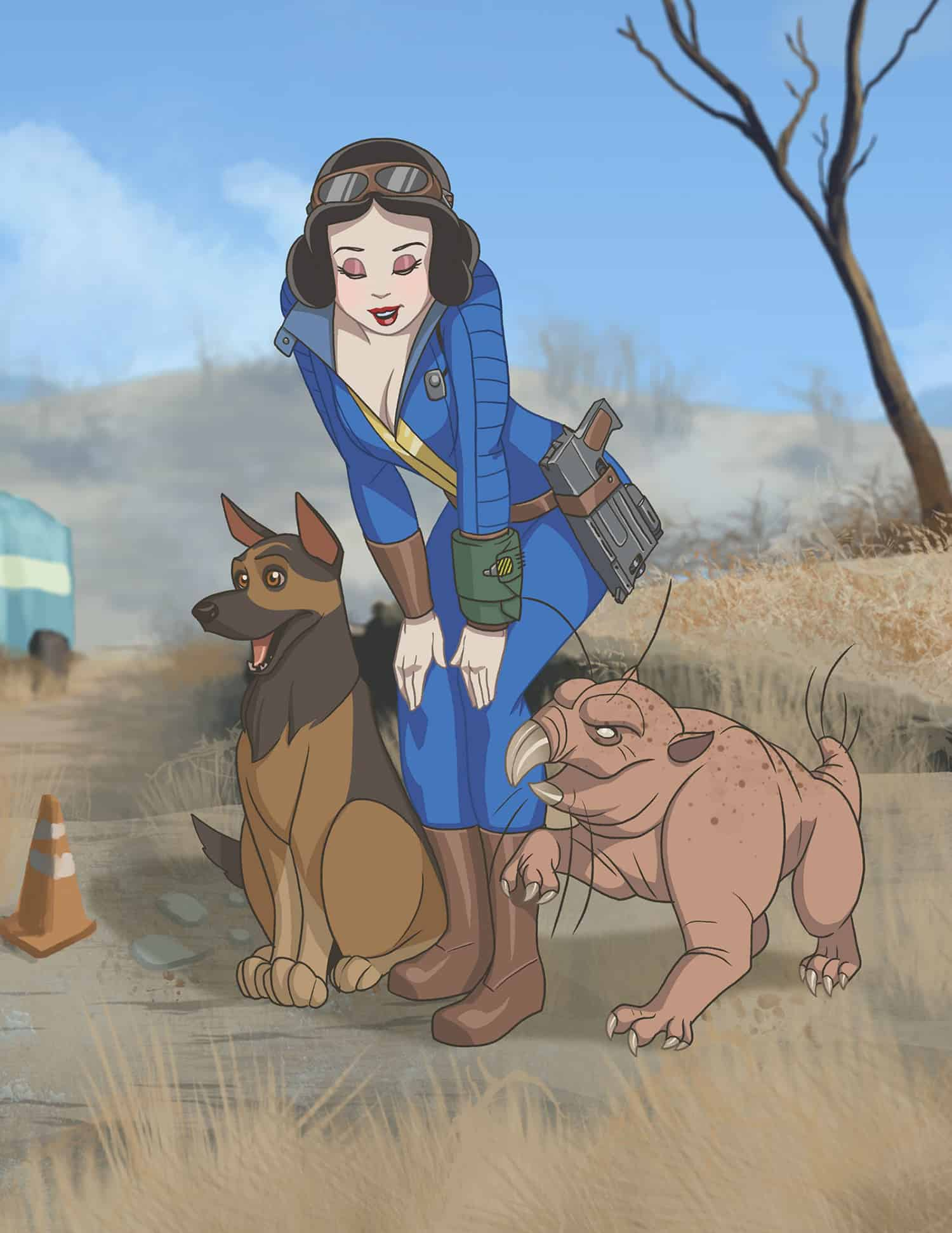 Fallout x Disney Princess Pinup Girls Mashup